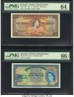 Bermuda Bermuda Government 5 Shillings; 1 Pound 1.5.1957 Pick 18b; 20b Two Examples PMG Choice Uncirculated 64; Gem Uncirculated 66 EPQ. A visually pl...