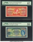 Bermuda Bermuda Government 10 Shillings; 1 Pound 20.10.1952 Pick 19a; 20a Two Examples PMG Superb Gem Unc 67 EPQ; Choice About Unc 58 EPQ. A wonderful...