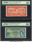 Bermuda Bermuda Government 10 Shillings; 1 Pound 1.5.1957 Pick 19b; 20c Two Examples PMG Gem Uncirculated 65 EPQ; Gem Uncirculated 66 EPQ. A high grad...