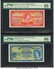 Bermuda Bermuda Government 10 Shillings; 1 Pound 1.10.1966 Pick 19c; 20d Two Examples PMG Gem Uncirculated 66 EPQ (2). Equal gem grades have been assi...