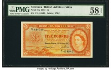 Bermuda Bermuda Government 5 Pounds 20.10.1952 Pick 21a PMG Choice About Unc 58 EPQ. Delightful orange inks are seen on this first series, high denomi...