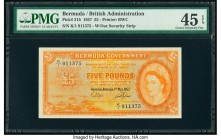 Bermuda Bermuda Government 5 Pounds 1.5.1957 Pick 21b PMG Choice Extremely Fine 45 EPQ. A desirable example with bold orange inks and delightful guill...