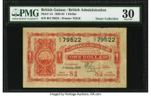 British Guiana Government of British Guiana 1 Dollar 1.1.1920 Pick 1A PMG Very Fine 30. A handsome and extremely rare type, with only 500,000 banknote...