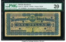 British Honduras Government of British Honduras 1 Dollar 1.5.924 Pick 14 PMG Very Fine 20. A rarely seen type, and desirable in any degree of preserva...