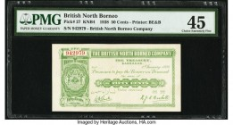 British North Borneo British North Borneo Company 50 Cents 1.1.1938 Pick 27 PMG Choice Extremely Fine 45. This smaller denomination is scarcer than th...