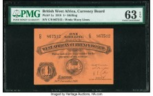 British West Africa West African Currency Board 1 Shilling 30.11.1918 Pick 1a PMG Choice Uncirculated 63 EPQ. This handsome, underrated type was issue...