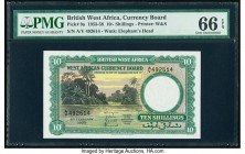 British West Africa West African Currency Board 10 Shillings 4.2.1958 Pick 9a PMG Gem Uncirculated 66 EPQ. A lovely landscape vignette with a stunning...