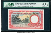 British West Africa West African Currency Board 20 Shillings 20.2.1957 Pick 10a PMG Gem Uncirculated 65 EPQ. Bold inks, vibrant colors, and bright pap...