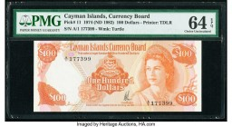 Cayman Islands Currency Board 100 Dollars 1974 (ND 1982) Pick 11 PMG Choice Uncirculated 64 EPQ. A lovely example from the Currency Law of 1974 issue....