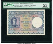 Ceylon Government of Ceylon 10 Rupees 24.6.1945 Pick 36A PMG About Uncirculated 55. A beautiful and popular type, and surprisingly challenging to find...
