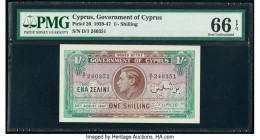 Cyprus Government of Cyprus 1 Shilling 25.8.1947 Pick 20 PMG Gem Uncirculated 66 EPQ. An appealing high grade issue featuring a centralized portrait o...