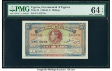 Cyprus Government of Cyprus 5 Shillings 6.10.1947 Pick 22 PMG Choice Uncirculated 64 EPQ. The striking portrait of King George VI was based on a photo...