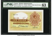 Cyprus Government of Cyprus 1 Pound 6.10.1947 Pick 24 PMG Choice Uncirculated 63. This scarce, post-World War II date is seldom seen in such a lofty g...