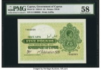 Cyprus Government of Cyprus 5 Pounds 1.9.1939 Pick 25 PMG Choice About Unc 58. An extremely rare, early date is seen on this highest denomination type...