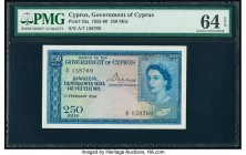 Cyprus Government of Cyprus 250 Mils 1.2.1956 Pick 33a PMG Choice Uncirculated 64 EPQ. Brilliant, well blended, bold inks used on this example draw a ...