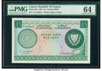 Cyprus Republic of Cyprus 5 Pounds 1.12.1961 Pick 40a PMG Choice Uncirculated 64. A charming, beautiful green note with an eagle head as the watermark...