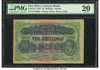 East Africa East African Currency Board 10 Shillings 1.1.1933 Pick 21 PMG Very Fine 20. A well preserved example of this early issue, designed with th...