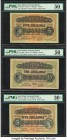East Africa East African Currency Board 5 (2); 10 Shillings 1.1.1949 (2); 1.4.1954 Pick 28b; 29b; 33 Three Examples PMG About Uncirculated 50 (2); Ver...