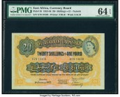 East Africa East African Currency Board 20 Shillings = 1 Pound 1.1.1955 Pick 35 PMG Choice Uncirculated 64 EPQ. A handsome, fully uncirculated and pac...
