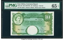 East Africa East African Currency Board 10 Shillings ND (1958) Pick 38 PMG Gem Uncirculated 65 EPQ. This gorgeous example is from the first date issue...