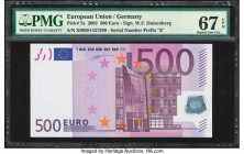 European Union Germany 500 Euro 2002 Pick 7x PMG Superb Gem Unc 67 EPQ. A bold blend of purple inks are used to create a great visual appeal on this n...