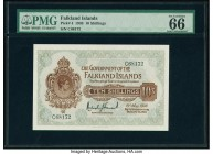 Falkland Islands Government of the Falkland Islands 10 Shillings 19.5.1938 Pick 4 PMG Gem Uncirculated 66 EPQ. A simply outstanding King George VI por...