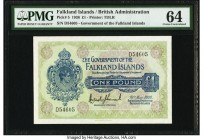 Falkland Islands Government of the Falkland Islands 1 Pound 19.5.1938 Pick 5 PMG Choice Uncirculated 64. Scarce in Uncirculated grades, the 1938 issue...