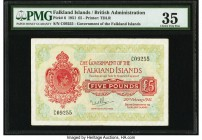 Falkland Islands Government of the Falkland Islands 5 Pounds 20.1.1951 Pick 6 PMG Choice Very Fine 35. A scarce issue from the King George VI series w...