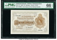 Falkland Islands Government of the Falkland Islands 10 Shillings 10.4.1960 Pick 7a PMG Gem Uncirculated 66 EPQ. A gorgeous high grade example featurin...