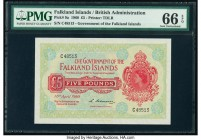 Falkland Islands Government of the Falkland Islands 5 Pounds 10.4.1960 Pick 9a PMG Gem Uncirculated 66 EPQ. A gorgeous first date issue of this high d...