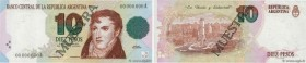 Country : ARGENTINA  Face Value : 10 Pesos Spécimen  Date : (1992)  Period/Province/Bank : Banco Central de la Republica Argentina  Catalogue referenc...