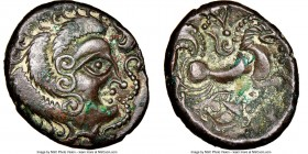 GAUL. Armorican. Coriosolites. BI stater (21mm, 8h). Ca. 100-50 BC. NGC Choice VF. Class I. Celticized head right / Stylized horse prancing right, boa...