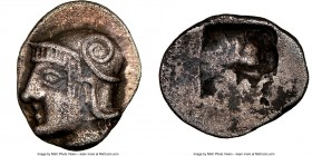 GAUL. Massalia. Ca. 475-460 BC. AR obol (11mm). NGC Choice XF. Head of Athena left, wearing Attic helmet decorated with scroll / Quadripartite incuse ...
