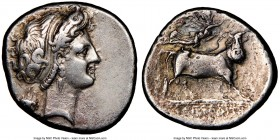 CAMPANIA. Neapolis. Late 4th century BC. AR didrachm or stater (22mm, 10h). NGC VF. Ca. 320-300 BC. Head of nymph right, hair bound with taenia, weari...