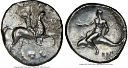 CALABRIA. Tarentum. Ca. 302-281 BC. AR nomos or didrachm (22mm, 9h). NGC Fine. Sa- and Con-, magistrates. Nude horseman crowning himself on horse walk...