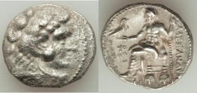 MACEDONIAN KINGDOM. Alexander III the Great (336-323 BC). AR tetradrachm (25mm, 16.42 gm, 11h). AU, porosity, brushed. Early posthumous issue of Tyre,...