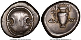 BOEOTIA. Thebes. Ca. 395-338 BC. AR stater (22mm, 9h). NGC Choice VF, light graffito. Magistrate Damo-, ca. 390-382 BC. Boeotian shield / ΔA-MΩ, ampho...