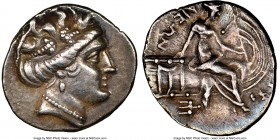 EUBOEA. Histiaea. Ca. 3rd-2nd centuries BC. AR tetrobol (15mm, 11h). NGC XF. Head of nymph right, wearing vine-leaf crown, earring and necklace / IΣTI...