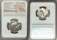 ATTICA. Athens. Ca. 440-404 BC. AR tetradrachm (25mm, 17.20 gm, 4h). NGC Choice AU 5/5 - 5/5, Full Crest. Mid-mass coinage issue. Head of Athena right...