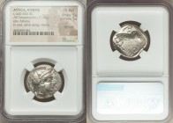 ATTICA. Athens. Ca. 440-404 BC. AR tetradrachm (24mm, 17.19 gm, 7h). NGC Choice AU 5/5 - 5/5, Full Crest. Mid-mass coinage issue. Head of Athena right...