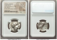 ATTICA. Athens. Ca. 440-404 BC. AR tetradrachm (24mm, 17.20 gm, 12h). NGC Choice AU 3/5 - 3/5. Mid-mass coinage issue. Head of Athena right, wearing c...