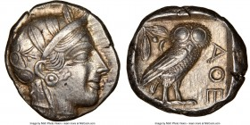 ATTICA. Athens. Ca. 440-404 BC. AR tetradrachm (23mm, 17.19 gm, 10h). NGC AU 5/5 - 5/5. Mid-mass coinage issue. Head of Athena right, wearing crested ...