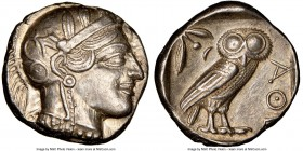 ATTICA. Athens. Ca. 440-404 BC. AR tetradrachm (24mm, 17.20 gm, 7h). NGC AU 5/5 - 4/5. Mid-mass coinage issue. Head of Athena right, wearing crested A...