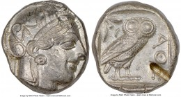 ATTICA. Athens. Ca. 440-404 BC. AR tetradrachm (23mm, 17.19 gm, 7h). NGC AU 5/5 - 2/5, test cut. Mid-mass coinage issue. Head of Athena right, wearing...