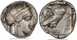 ATTICA. Athens. Ca. 440-404 BC. AR tetradrachm (24mm, 17.19 gm, 1h). NGC Choice XF 4/5 - 4/5. Mid-mass coinage issue. Head of Athena right, wearing cr...