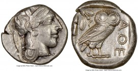 ATTICA. Athens. Ca. 440-404 BC. AR tetradrachm (24mm, 17.17 gm, 5h). NGC Choice XF 4/5 - 4/5. Mid-mass coinage issue. Head of Athena right, wearing cr...