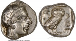 ATTICA. Athens. Ca. 440-404 BC. AR tetradrachm (23mm, 17.17 gm, 7h). NGC Choice XF 4/5 - 4/5. Mid-mass coinage issue. Head of Athena right, wearing cr...