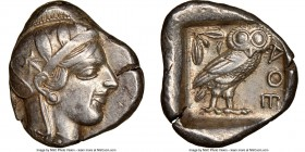 ATTICA. Athens. Ca. 440-404 BC. AR tetradrachm (26mm, 17.17 gm, 2h). NGC XF 5/5 - 4/5. Mid-mass coinage issue. Head of Athena right, wearing crested A...
