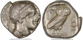 ATTICA. Athens. Ca. 440-404 BC. AR tetradrachm (23mm, 17.18 gm, 11h). NGC XF 4/5 - 4/5. Mid-mass coinage issue. Head of Athena right, wearing crested ...