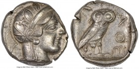 ATTICA. Athens. Ca. 440-404 BC. AR tetradrachm (24mm, 15.79 gm, 9h). NGC XF 5/5 - 3/5, edge cut, light-weight specimen. Mid-mass coinage issue. Head o...